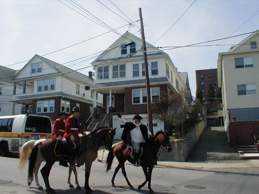 Paul Revere's Ride Re-enactment 2004, an annual Patriots' Day event in the communities through which Paul Revere rode to warn the American colonists that the British were coming. This was taken on Main Street at the Somerville-Medford (MA) city line.