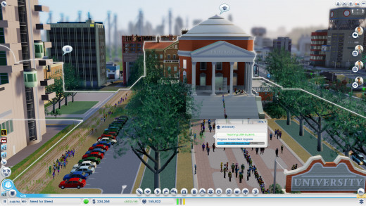 The University, the other thing you have to get other cities to help you with. Either because the departments cost a lot (I believe 1000 simoleons a department) or because of the ridiculously expensive research.
