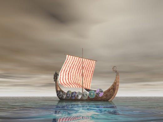 Viking ship with dragon prow