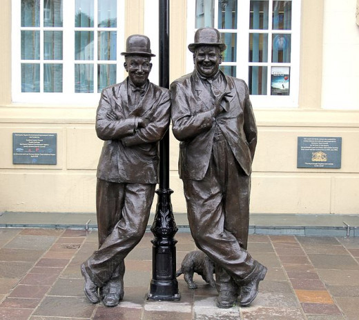 The statue outside the Coronation Hall in Ulverston the birth place of Stan Laurel