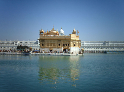 Harminder Sahib or The Golden Temple is surrounded by the Sarovar or Sacred Pool in Punjab.The most holy of Sikh places, it is enjoyed by many tourists.