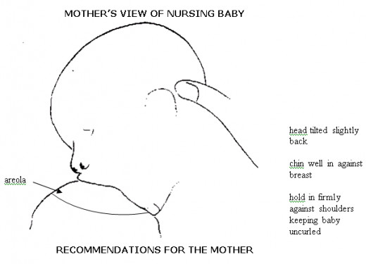 Baby is latched on correctly, chin is tucked into breast whilst the nose is free and the head is tilted slightly back.