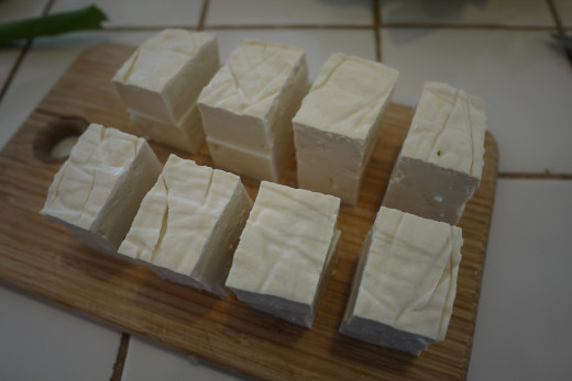Chopped tofu.