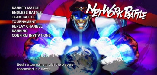 Network Battle menu, listing all available modes for SSF4 online play
