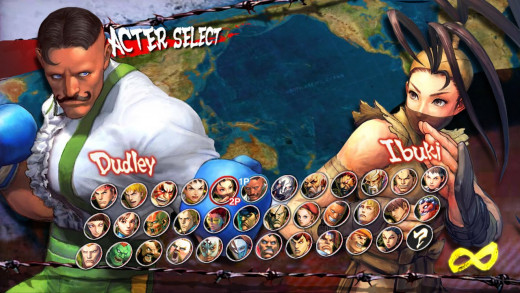 Character select screen (feat. Dudley and Ibuki)