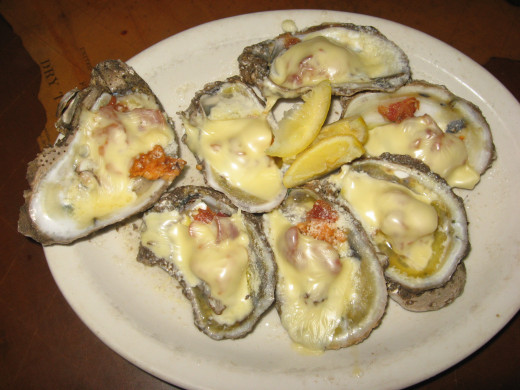 Oysters with Crab Meat, Bacon, and Cheese