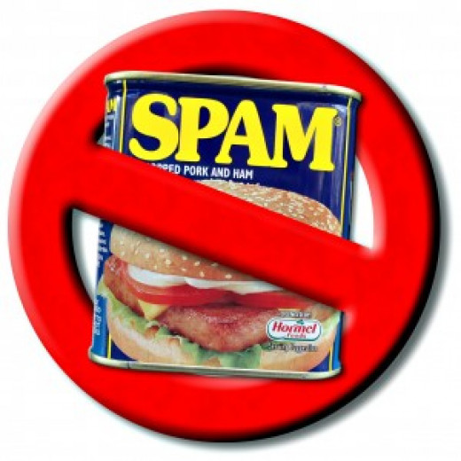 A no spam sign. Spam is also a meat product sold in a can-- like in the picture.