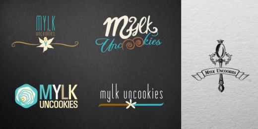 Milk Uncookies Logo Samples. Design Storyboard.