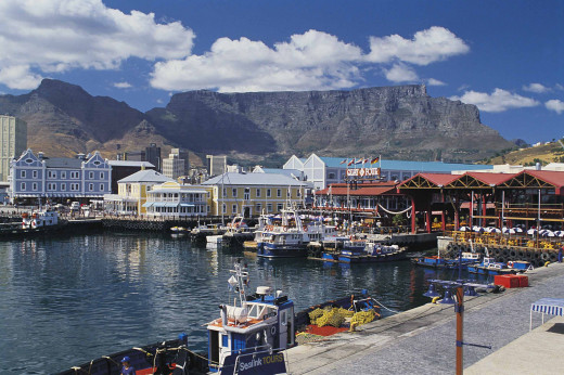 Table Mountain showing up as a backdrop to the vibrant Victoria and Alfred Waterfron in Cape Town