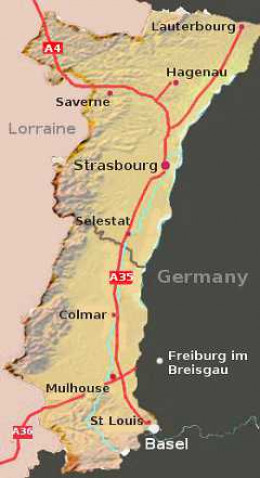 The French Alsace region borders Germany and Switzerland