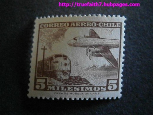 A Chilean airmail stamp from the 1960s. (Stamp and stamp artwork copyright: Casa de Moneda de Chile.)