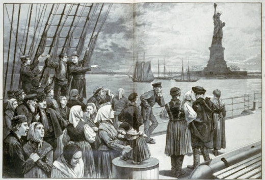 Immigrants on the deck of the SS Germanic