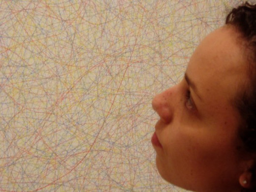 Here I am examining a Sol LeWitt drawing on a wall at the National Gallery of Art in Washington, D.C. Photo courtesy of Dr. Kelly Wacker