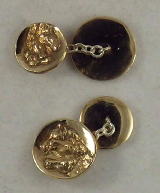 Old Fashioned Cufflinks - two buttons connected by a chain