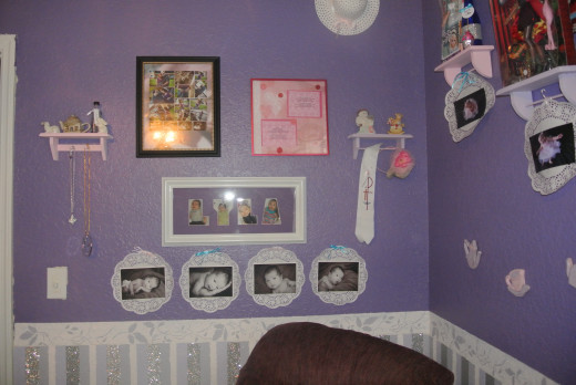 The frame with her name, Lyla, was the inspiration used to choose the purple color for the top part of the walls.  The glitter tape added that extra touch that gave her room a fun, unique and whimsical feel.