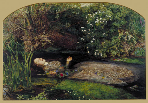 "One of the most popular Pre-Raphaelite paintings was John Everett Millais' painting ""Ophelia"" (1851-2), based on Shakespeare's Hamlet."