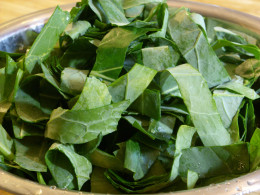 These are the sliced collard greens. The slices will be as wide as the leaf. You can further chop the leaves into bite-sized pieces if you prefer.