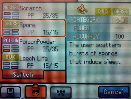 Paras and Parasect can learn the move Spore by leveling, putting Pokemon to sleep.