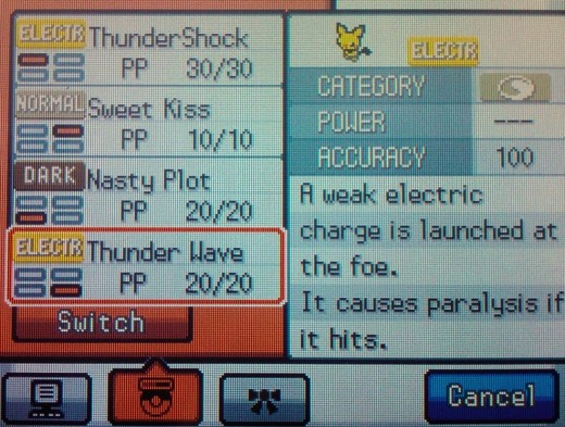 Electric-type Pokemon like this Pichu learn Thunderwave at low levels.