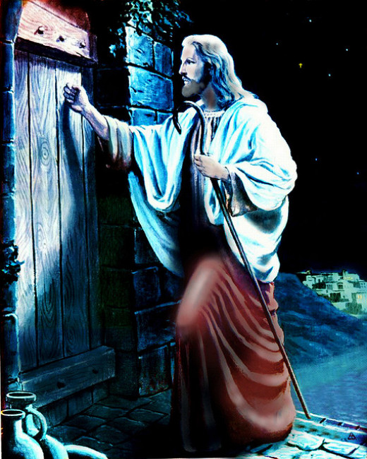"""'Behold, I stand at the door and knock; if anyone hears My voice and opens the door, I will come in to him and will dine with him, and he with Me."""" Revelation 3:20"""
