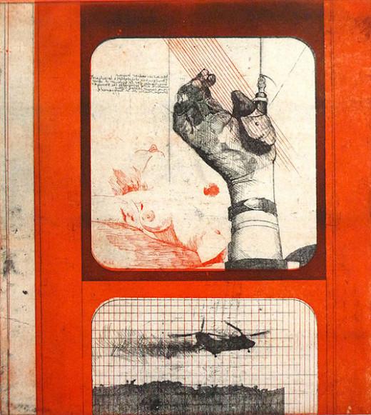 Peter Sorge, Heißer Sommer I, 1967, Farbradierung auf Kupferdruckbütten, Platte 44 x 39,5 cm, Blattmaß 63,7 x 54 cm, Auflage: 20, e.a., 2. Auflage 1970, Auflage: XV, 5 e.a., von Sorge nummeriert, signiert und datiert