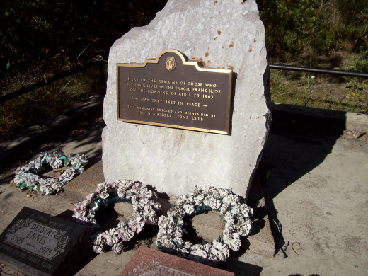 Memorial Dedicated to Those Who Lost Their Lives in the Frank Slide.  Located on the old Frank Road.