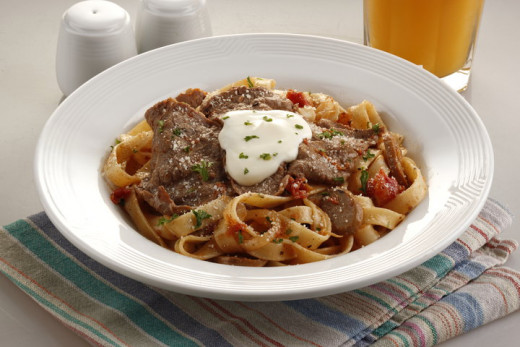 Sauteed Beef on Tagliatelle with Tomato Cream Sauce. Yummyyyy!