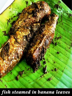 Pepper Fish cooked in Banana leaves