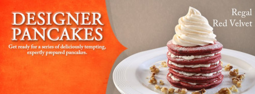 Red velvet pancake tower.  Ooh lala!