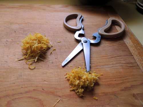 if zest peels are overly long, go ahead and snip those bad boys to a smaller size