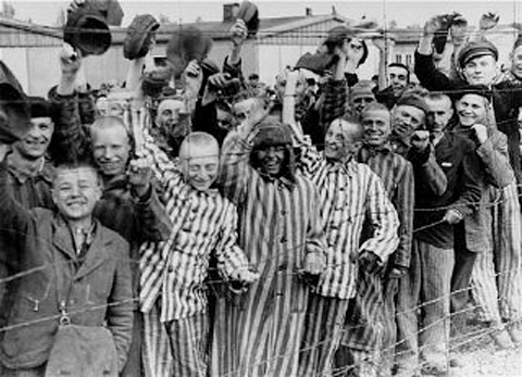 These are prisoners being liberated in 1945.  They were the lucky ones.  For every one saved, how many others were murdered?  Let us never forget, and never allow it to happen again.  Liberation from Dachau.