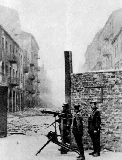 Securing a street, German Sentries.
