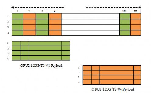 ODU1 payload mapping into 2 ODU0 time slots out of available 8 under ODTU2.ts scheme.