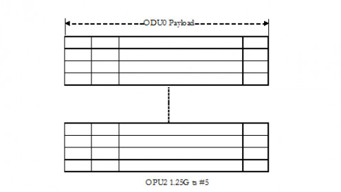 ODU0 payload mapping into 1 ODU0 time slot