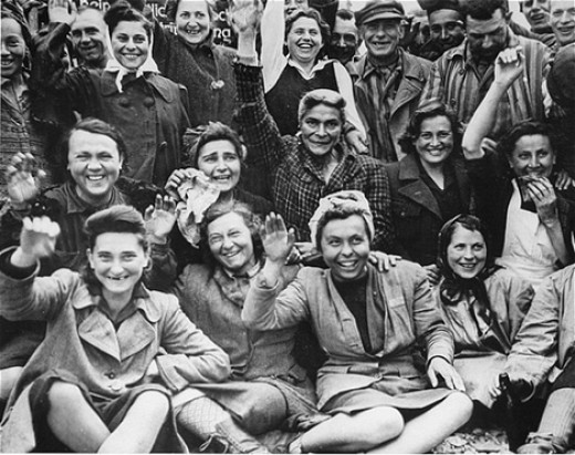 Some rescued women from Dachau.  Wow, what an amazing photo. April 29th, 1945.  They are waving to their liberators.  This one, as many others, brings tears to my eyes.