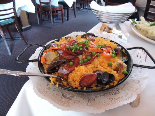 Paella Valenciana, the national dish of Spain.  Mallorca Restaurant in Cleveland, OH.