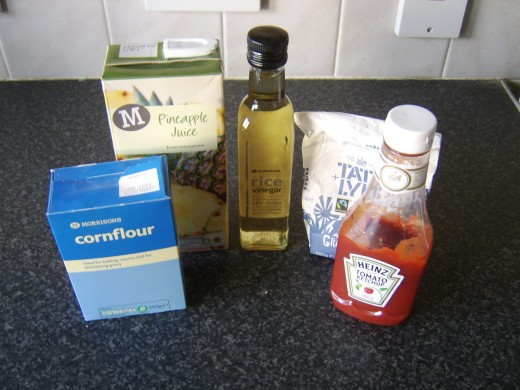 Principal ingredients for sweet and sour sauce