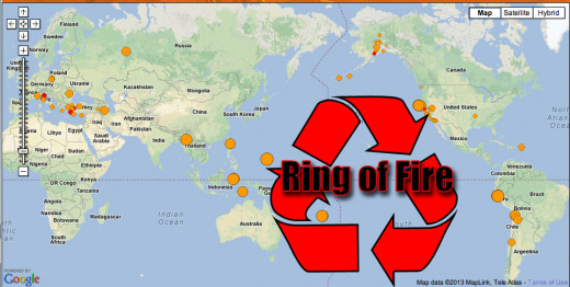 The Ring of Fire experiences on average 200 earthquakes a day.