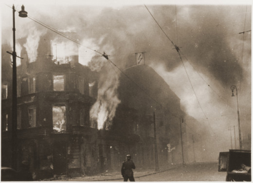 Fires were set.  Warsaw Ghetto Uprising.