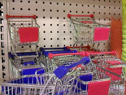 Mini shopping carts.
