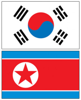 Flags of the Republic of Korea (top) and the People's Democratic Republic of Korea
