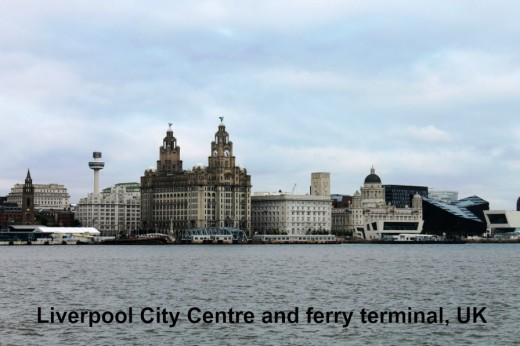 Liverpool city centre and ferry terminals.