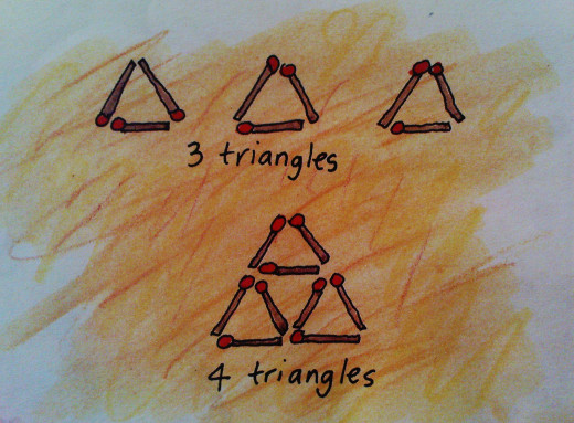 4 TRIANGLES OUT OF 9 MATCHSTICKS