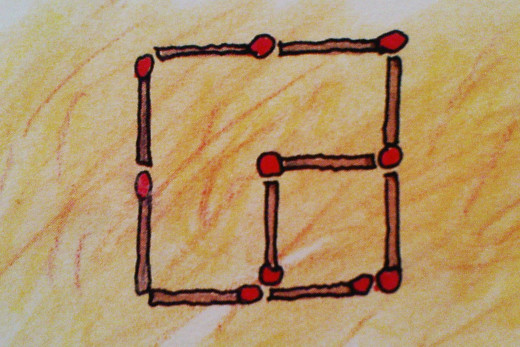 2 square fields in 10 matchsticks with the original arrangement