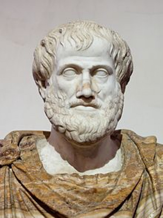 A marble bust of Aristotle.  This is a Roman copy after the Greek bronze original by Lysippas 330 B.C.