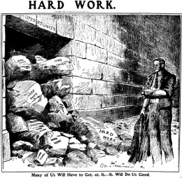 """Hard Work"", editorial cartoon by George Herriman from Sunday, November 24 1907 (LA Examiner)"