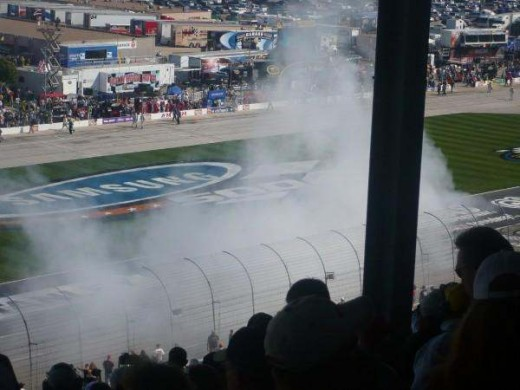 Kyle Bush doing a burnout after a win at Texas Motor Speedway Nationwide Series 2008
