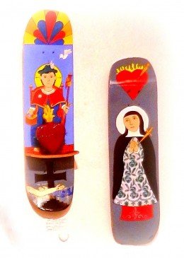Traditional art in a contemporary way: Ronn Miera's santos on skateboards.