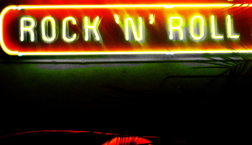 A little neon outside of Tommy Rockers