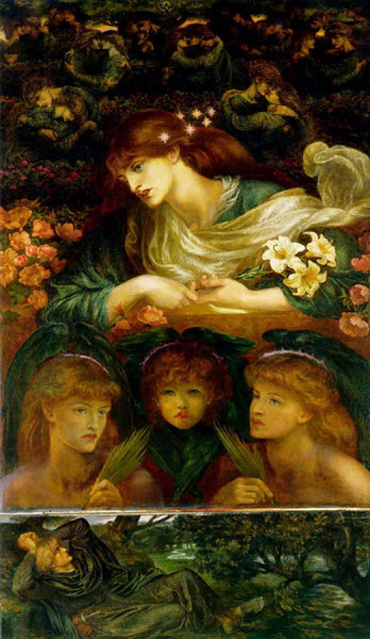 """D.G. Rossetti's painting """"The Blessed Damozel"""", based on his poem"""